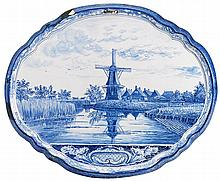 Pair of Delftware plaques, 19th century,