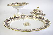 Three pieces of Louis Phillipe Sevres porcelain, after the royal hunting service made for the chateau de fontainbleu,