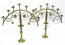 Pair of Victorian Gothic style seven-light brass candelabra, mid 19th century,