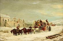 JOHN CHARLES MAGGS, (BRITISH 1819-1895), THE BATH-LONDON MAIL COACH, WINTER