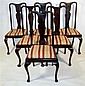 Matched set of twelve Queen Anne style mahogany dining chairs, late 19th century, The shaped toprail over vasiform splat, drop-in seat,