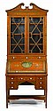 Edwardian Adams style painted mahogany secretaire bookcase and chair, early 20th century, In three parts: the upper section with broken