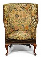 George II tapestry upholstered barrel back armchair, circa 1750, the upholstery 18th/19th century, The tapestry upholstered barrel back
