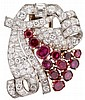 Platinum, rose gold and diamond and ruby lapel clip, , Scrolling ribbon and spray motif, accented by petite round and baguette cut diam