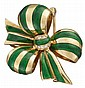 18 karat yellow gold, diamond and enamel 'bow' brooch, Hennell, , Tri-looped 'bow' featuring green enamel stripes and accented by p