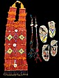 Sioux quilled breastplate and two pairs beaded and quill ceremonial moccasins, fort yates, north dakota, first half 20th century, The b