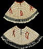 Two Plains dentalium shell women's capes, circa 1900, Each with shells arranged in concentric pattern ornamented with ribbons and smal