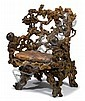 Fine Chinese rootwood throne chair, 18th / 19th century, Carved on the back, sides, legs and arms of chair with naturalistic gnarled bo