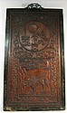 Pair of Chinese carved rosewood panels, qing dynasty, The panels carved in low relief with a scholar's item roundel above a rectangula