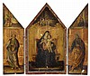 MANNER OF GIOVANNI DI PAOLO, (ITALIAN ACTIVE CIRCA 1420-1482), A TRIPTYCH: THE CENTRAL PANEL, VIRGIN AND CHILD WITH GOD THE FATHER ABOV