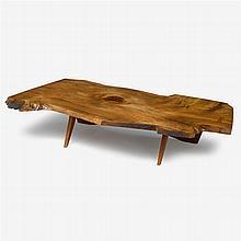 George Nakashima (1905-1990), exceptional slab coffee table, 1967