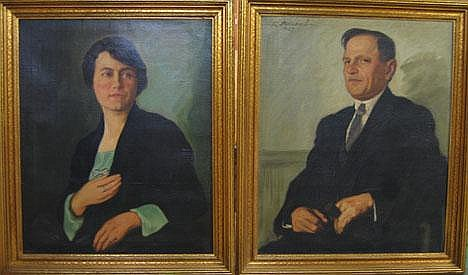 LAJOS REZES-MOLNAR (HUNGARIAN, 1896-19890 PAIR OF PORTRAITS, , Signed R. Molnar L 1928 upper left, oil on canvas 33 1/2 x 27 1/2 in.