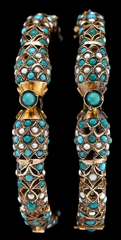 Two yellow gold turquoise and seed pearl 'serpent' bangles, , Each featuring pierced double-headed 'serpent' design accented by see