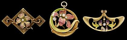 Group of three Art Nouveau yellow gold, enamel and pearl pins, , Each floral design, one with petite round cut diamond accent.