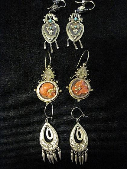 Three pairs of gold drop 'revival' earrings, , All drop style, one featuring coral 'flowers' and one accented by turquoise.
