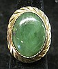 14 karat yellow gold and jade ring, ,