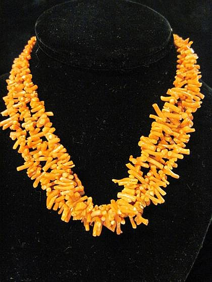 Branch coral necklace, , Triple strand.