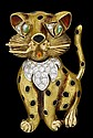 18 karat yellow gold, diamond and enamel 'cat' pin, , Round cut diamond set 'collar'.