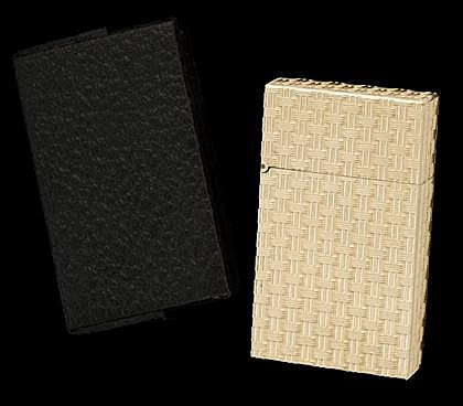 14 karat yellow gold lighter, , Basket weave gold, featuring makers mark, accompanied by black leather case.
