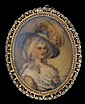 Portrait pin of a lady, , Delicate filigree frame.