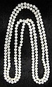 One strand of cultured pearls, , Cultured freshwater off round pearls. Average approximate pearl size 6mm-8mm.