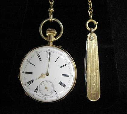 14 karat yellow gold pocket watch with pen knife, , Circular case, white enamel face with Roman numeral and dash dial, displays subsidi