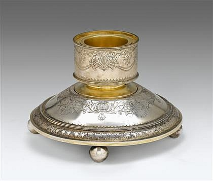 Fine Russian silver caviar stand, bearing marks for pavel ovchinnikov, assay master ivan konstantinov, moscow, 1881, Circular and sligh