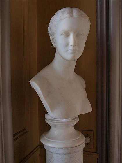 William Henry Rinehart (American, 1825-1874), , White marble bust of a woman, signed 'Wm. H. Rinehart Sculpt. Roma 1874'.