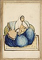 1 piece.  Persian Miniature Watercolor on Paper. 6 3/4 x 4 3/4 inches; 170 x 120mm. Slightly dusty. Framed in embroidered ma...