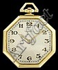 18 karat yellow gold pocket watch, Tiffany & Co., , Octagonal case, silver tone face with Arabic numeral and dash dial, signed by the m