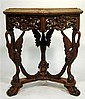 Empire style marquetry inlaid oak centertable, late 19th/early 20th century, The hexagonal top with rounded corners inlaid to show foli