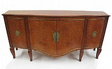 Art Deco style gilt-metal mounted burl maple sideboard, in the manner of Jules Leleu, late 20th century