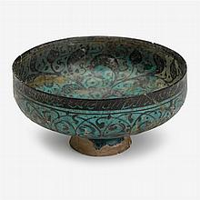 Persian Kashan underglaze painted turquoise footed bowl, Persia, circa 13th century