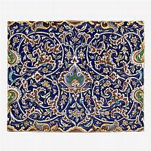 Persian Qajar molded tile, likely Tehran, 19th century