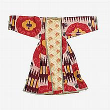An ikat robe and turkoman chrypy, Uzbekistan, 19th/20th century
