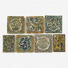 Seven Persian ceramic tiles, 19th century