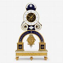 Fine Directoire ormolu and enamel pendule squelette, the movement by nicolas-alexandre folin, enamel by georges-adrien merlet, circa...