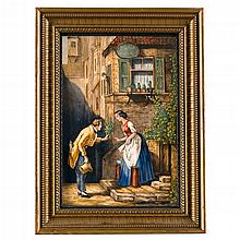 Two KPM porcelain plaques, early 20th century, outside painted