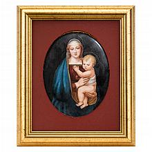 KPM hand-painted porcelain plaque, 'The Granducca Madonna', after Raphael