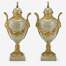 Pair of French Louis XVI style ormolu mounted green marble covered urns, 19th century