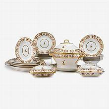 Rare Derby porcelain armorial partial dinner service, circa 1815