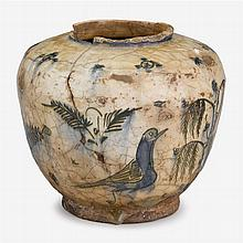 Middle Eastern pottery vase, likely Iznik, circa 1650-1675