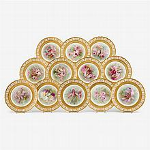 Twelve Royal Doulton 'orchid' dessert plates, painted by David Dewsberry, early 20th century