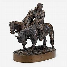 After A.M. Bonegor (Russian, 19th/20th century), two cossacks on horseback, 1904