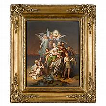 Large KPM hand-painted porcelain plaque, Flight into Egypt, painted by Eduard Schade