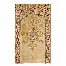 Fine Suzani embroidered wall hanging, Uzbekistan, 19th century