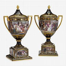 Fine pair of Vienna style cobalt ground porcelain urns and covers, franz dörfl, late 19th/early 20th century