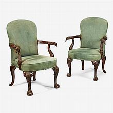 Pair of George III style mahogany carved armchairs, after charles grendey, 19th century