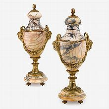 Pair of French ormolu and variegated marble urns, 19th century