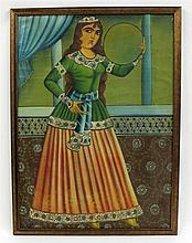 Qajar style portrait of a woman, Persia, late 19th/early 20th century
